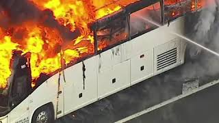 Fire fighters put out massive bus fire in Union Township, New Jersey | ABC News