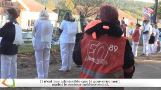 Grève à la résidence Girard de Roussillon à Vézelay à l'appel de Force Ouvrière.