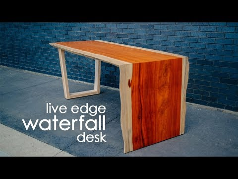 DIY Live Edge Waterfall Table Desk//Do it Yourself live-Edge table