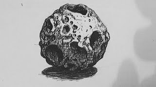 Pen and Ink Texture Challenge | How to draw an asteroid
