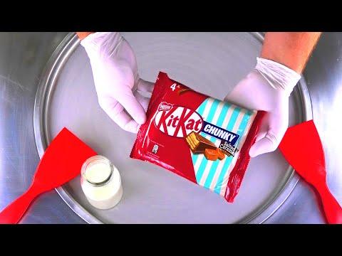 Ice Cream Rolls   KitKat Chunky Salted Caramel Fudge rolled fried Ice Cream & Chocolate Bar   ASMR