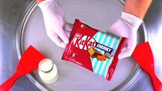 Ice Cream Rolls | KitKat Chunky Salted Caramel Fudge rolled fried Ice Cream & Chocolate Bar | ASMR