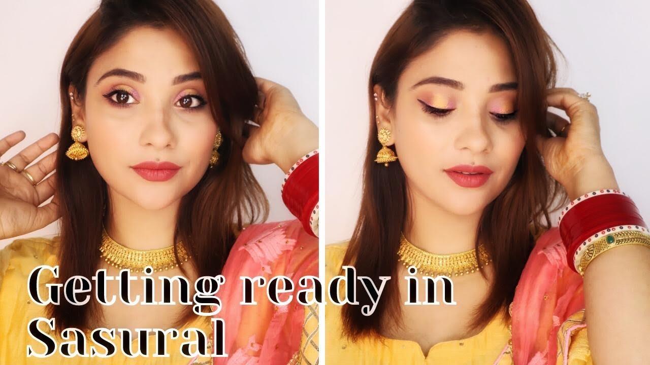 getting ready in sasural || makeup look