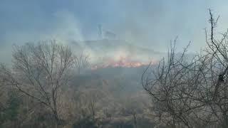 Incendio en La Calera cerca de las casas en barrio La Hoya