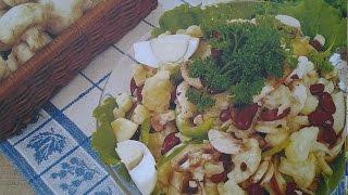 Как сделать Салат из цветной капусты с шампиньонами и фасолью