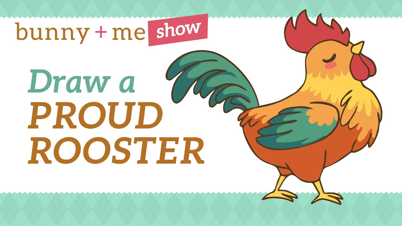 how to draw a cute proud rooster kawaii tutorial for beginners