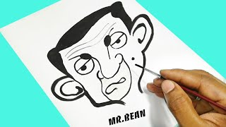 How to draw Mr Bean cartoon character using black paint | 360 DIY
