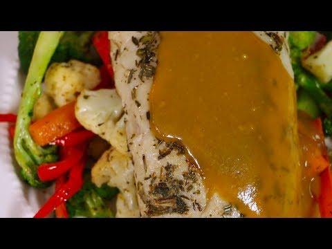 merluza con salsa de mostaza y miel