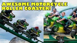 Awesome Motorcycle Themed Roller Coaster! Toverland Netherlands Onride 4K POV