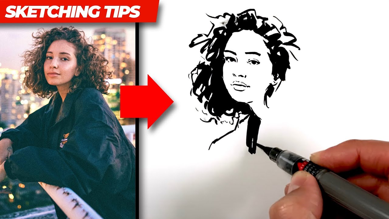 How to sketch this girl with an INK BRUSH PEN