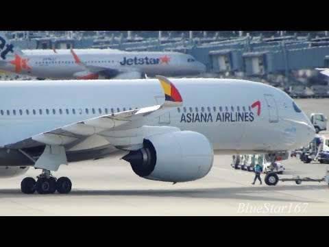 Asiana Airlines Airbus A350-900 (HL7579) takeoff from KIX/RJBB (Osaka - Kansai) RWY 06R