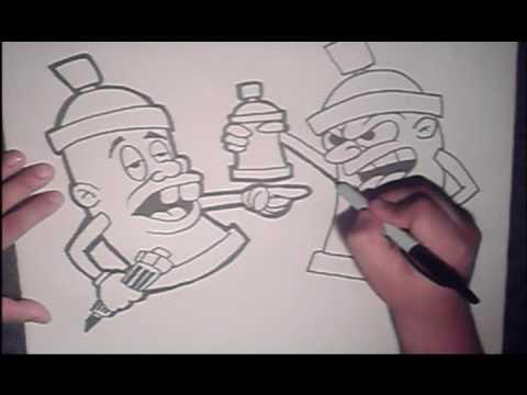 Learn to draw spraycan character (HQ) - YouTubeGraffiti Spray Can With Face