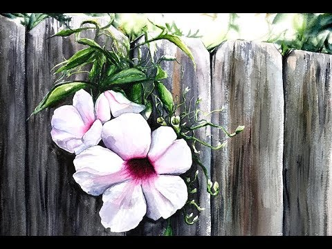 Watercolor Flowers by a Fence Painting Tutorial