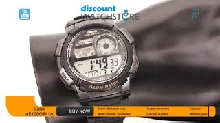 Casio AE1000W-1A Men's Black Plastic Rubber Strap World Time Illuminator Stop Watch Review Video