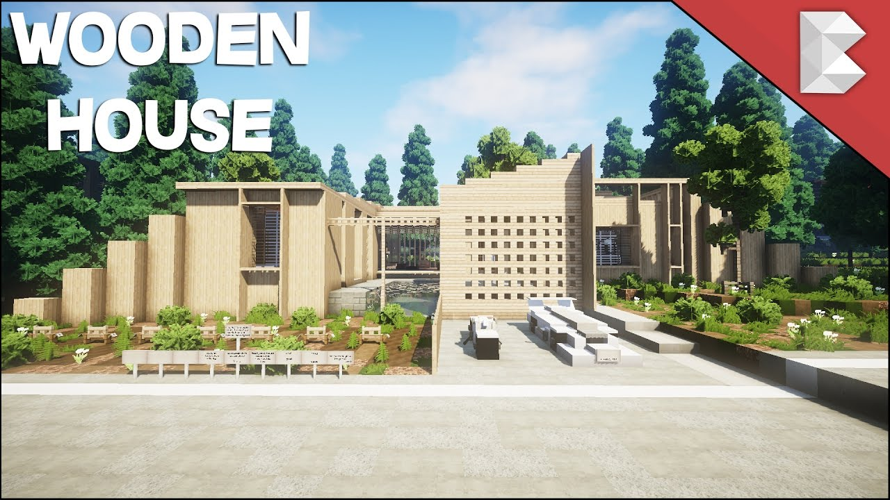 minecraft: epic wooden modern house - build review 2017 - youtube