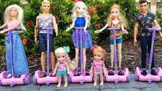 Hoverboards ! Elsa and Anna toddlers  Barbie  race  park  adventure