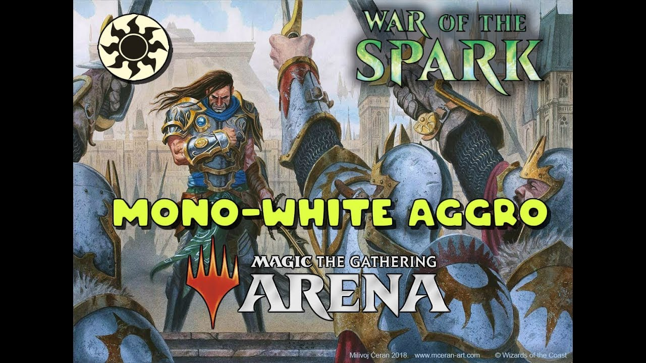 MTG Arena - War of the Sparks, Mono White Aggro,Gideon's Company, Charmed  Stray,Ranked,Bo1