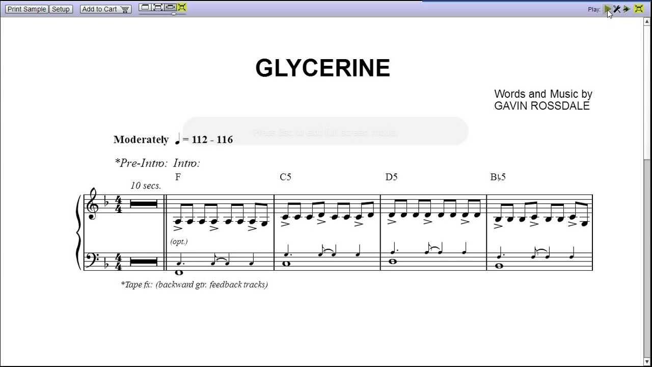 Glycerine By Bush Piano Sheet Musicteaser Youtube