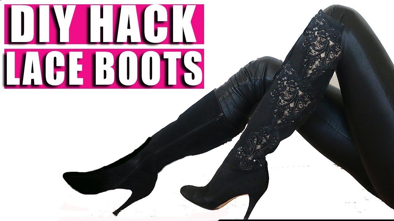 DIY Dolce Gabbana LACE Boots - YouTube 7ab936bcd7bd