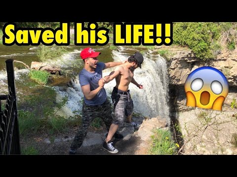 HE almost FELL IN WATERFALL **CRAZY**