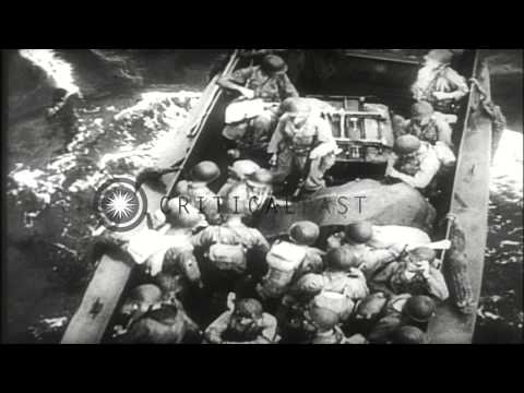US Liberator bomber planes destroy the Japanese planes and ships on Makin Islands...HD Stock Footage
