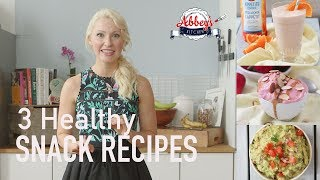 3 HEALTHY SNACK Recipes | PROTEIN PACKED Creamsicle Smoothie, Guacamole &