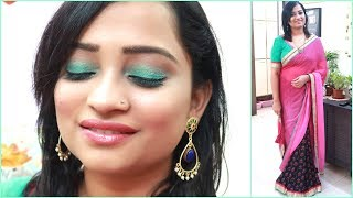 TEAL AQUA SMOKEY EYE TUTORIAL with Saree | Simple Party Makeup Look |  Indian Mom On Duty