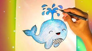 Как нарисовать милого КИТА? Лёгкие рисунки для срисовки №434