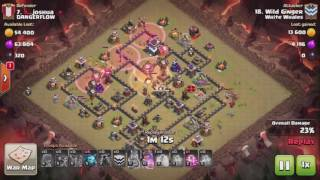 Clash of Clans TH9 Quad LavaLoon 3 STAR ATTACK