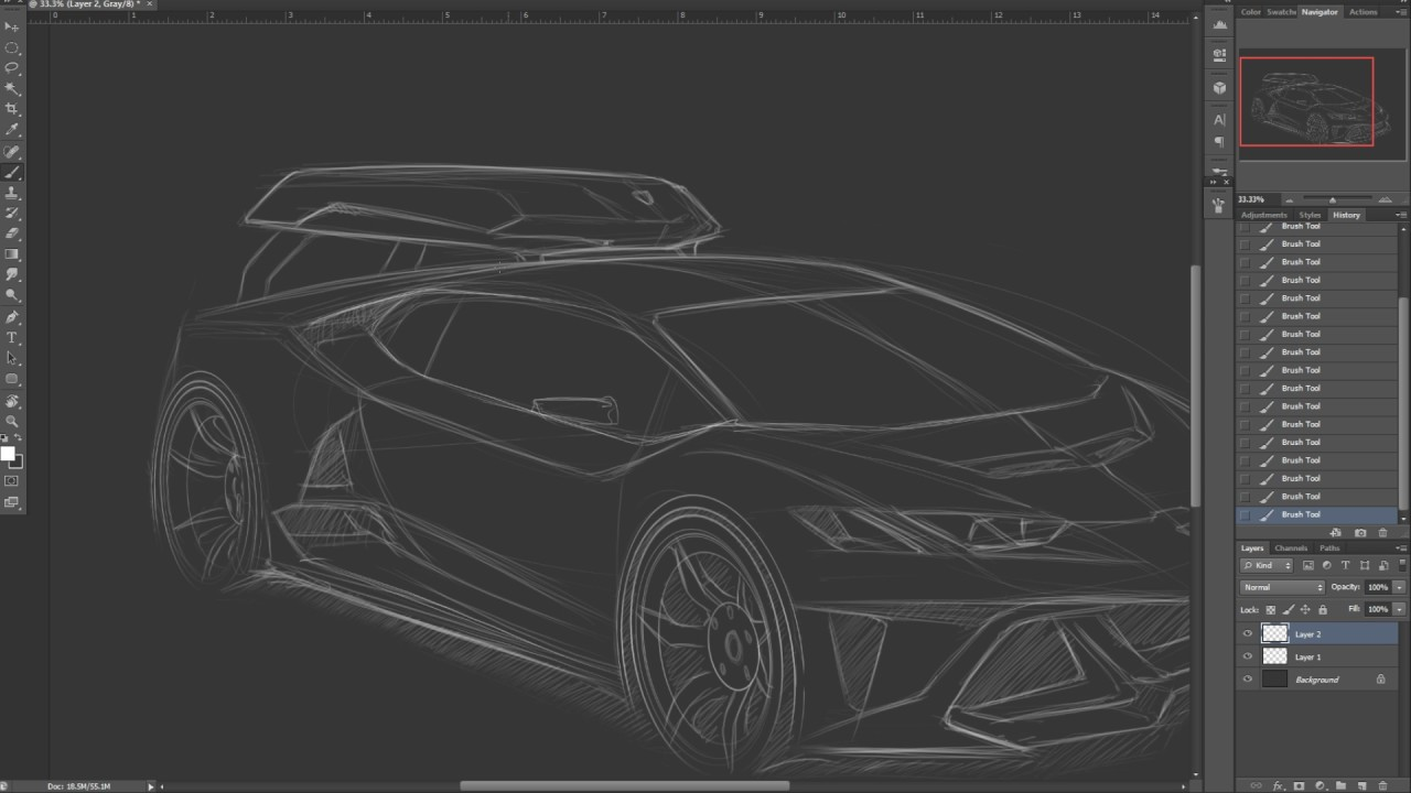 Design Sketch For Lamborghini Huracan Body Kit Timelaps Part 1