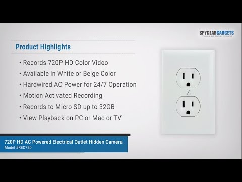 SpygearGadgets 720P HD AC Powered Electrical Outlet Hidden Camera ...