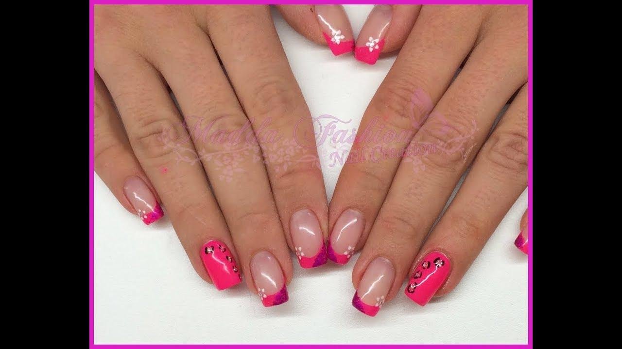 Nail Art French E Mono Rosa Fluo Maculato Foil E Stickers Fiore