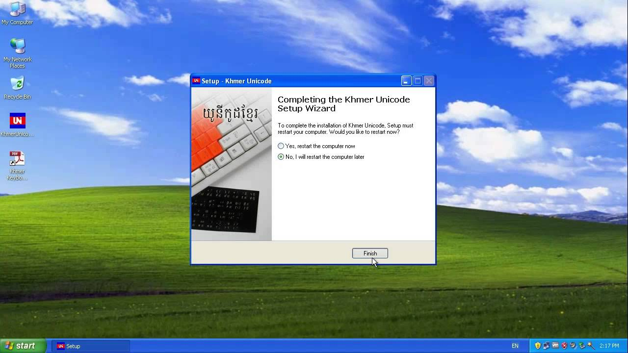 Installing Khmer Unicode For Windows XP Service Pack3