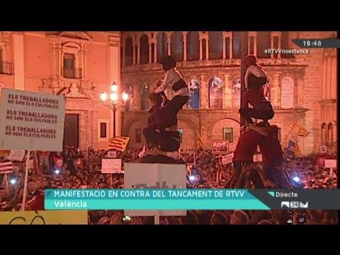 Manifestació contra el tancament de Canal 9 - Seguiment fet per RTVV íntegre (9-11-13)
