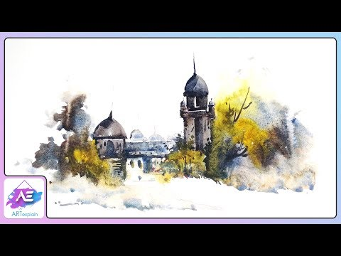 Watercolor Landscape Painting Tutorial | How to paint a old town in watercolor | Art Explain