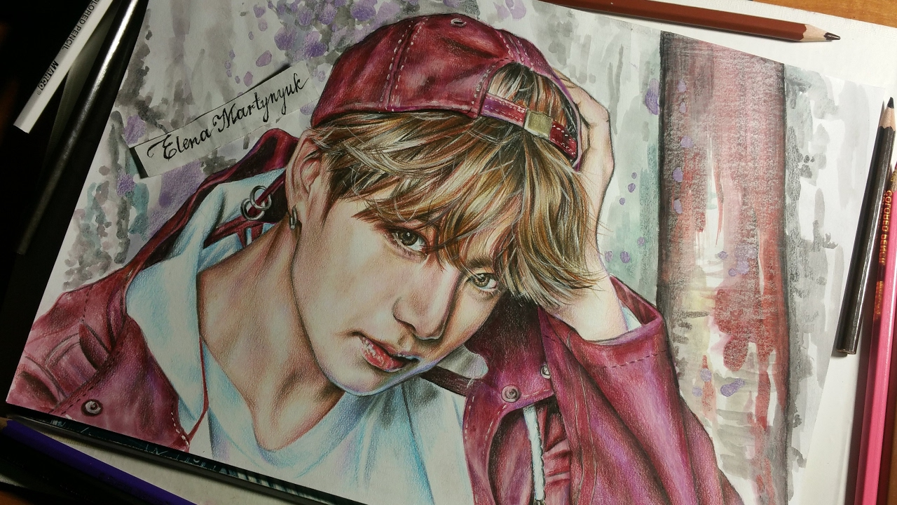 jungkook bts you never walk alone drawing by elena