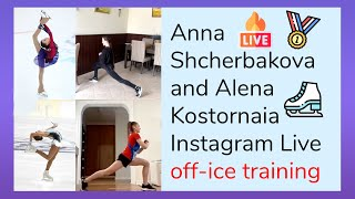 Anna Shcherbakova and Alena Kostornaia Instagram Live online off ice training Axelerate space