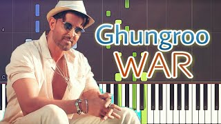 Ghungroo Toot Gaye Piano Tutorial | WAR | Hrithik Roshan, Vaani Kapoor | Free Midi | Sheet Music