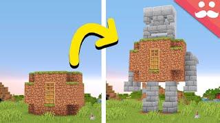 I Made a Transforming Dirt Hut in Minecraft