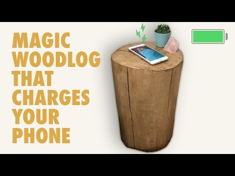 Wood log side table with wireless phone charger. DIY project.