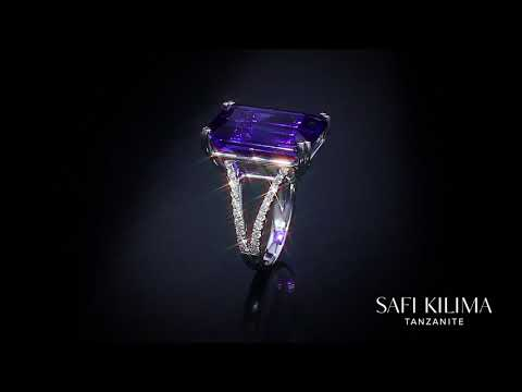 Safi Kilima Tanzanite Emerald Cut Split Shank Ring