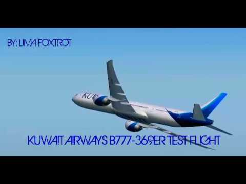 (FS2004) Kuwait Airways B777-369ER (9K-AOC) Test Flight Near Kuwait (Short Fly By)