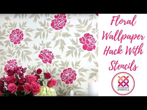 Japanese Peonies Flower Stencil Accent Wall