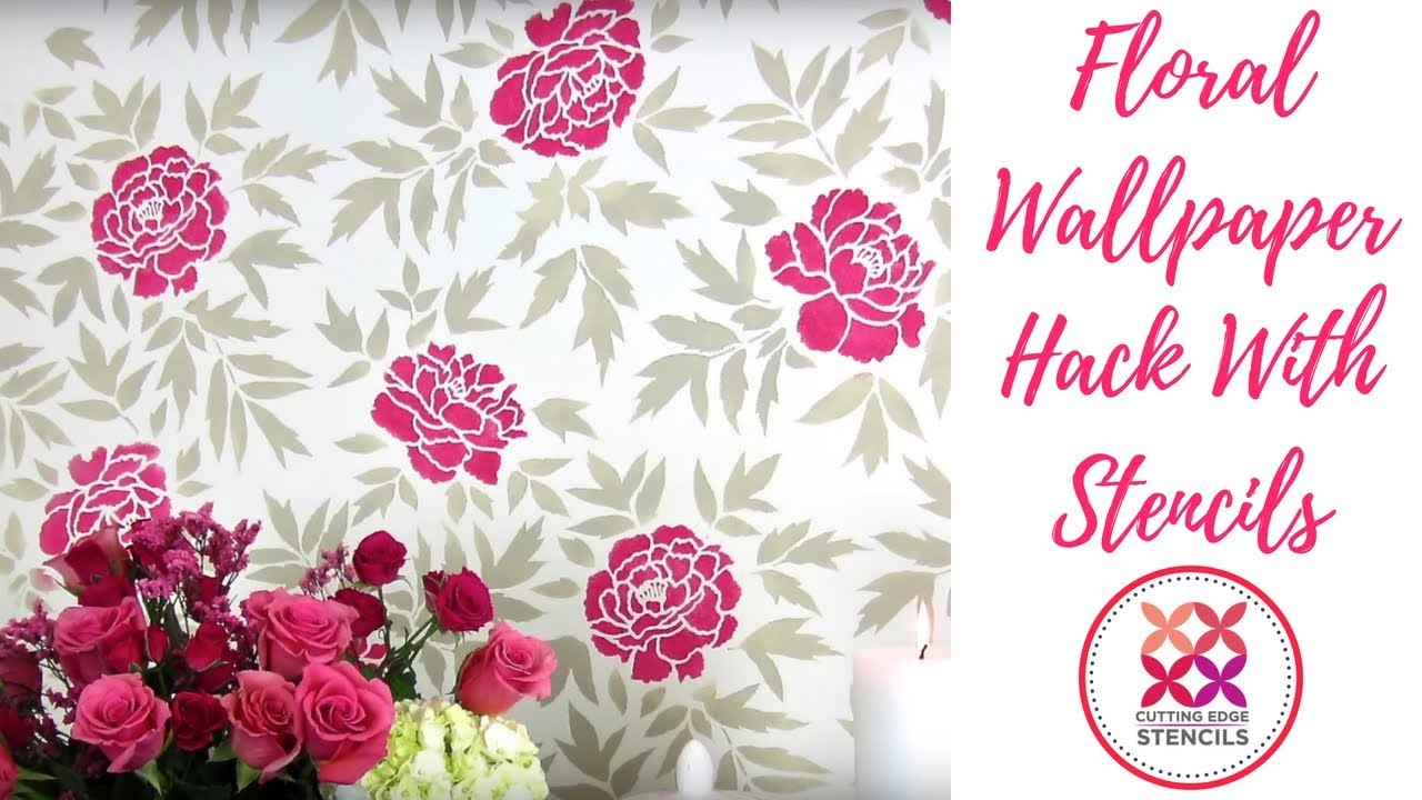 How To Stencil A Anese Peonies Flower Accent Wall