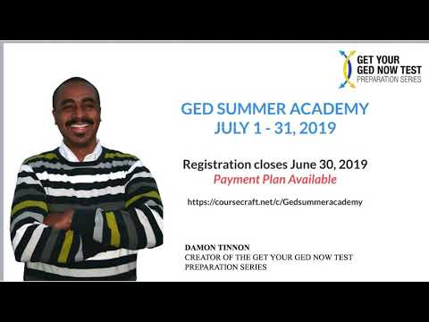 Online GED Class July 1 - 31, 2019