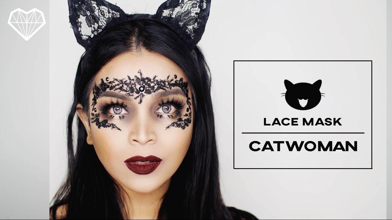 DIY Lace Mask Catwoman Makeup Tutorial | Halloween 2016 - YouTube