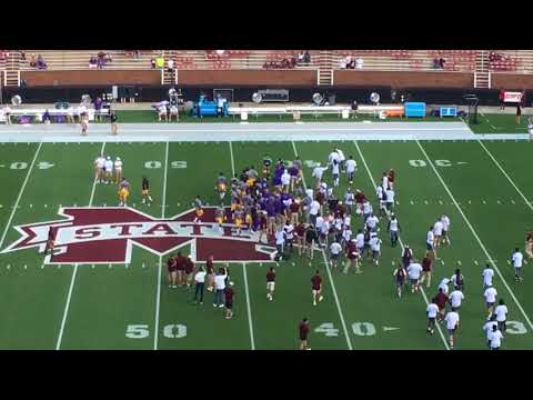 LSU and Mississippi State players jawing pregame