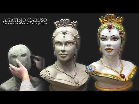 Clay modeling and decoration of a majolica bust. Agatino Caruso Ceramic Art Caltagirone