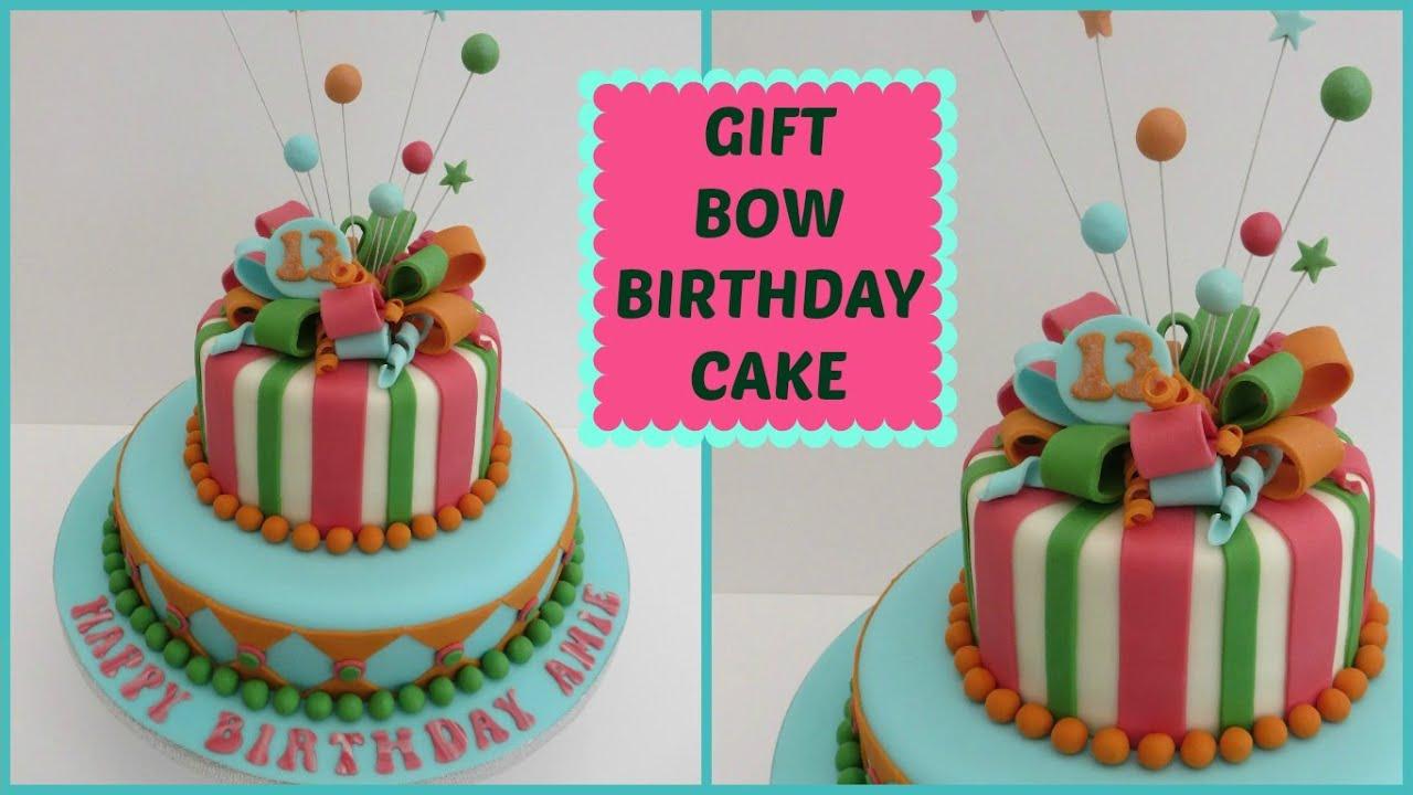 Gift Bow Birthday Cake Youtube