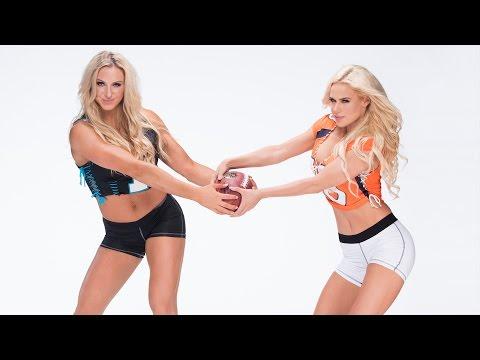 Bonus footage of Divas in football jerseys